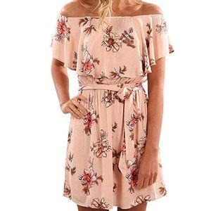 Dresses & Skirts - Emily floral Off shoulder Flounce Pink Dress